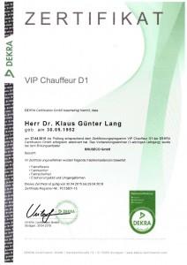 DEKRA D1 Zertifikat VIP Chauffeur